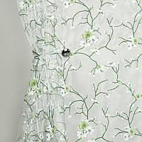 Тюль органза Сакура Зеленый  цветок, фото 1