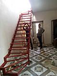 Каркас сходів з 2 поворотами і забіжними ступенями., фото 4