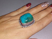 Хризоколла кольцо с натуральной хризоколлой в серебре Индия, фото 1