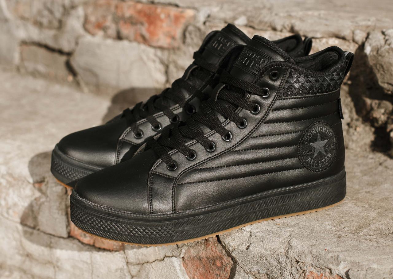 Зимние мужские ботинки Converse Waterproof  черные, на меху