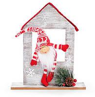 Новогодняя игрушка Санта в окне 29см, красивый декор на Новый год, набор 2 шт