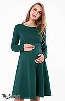 Женственное платье для беременных и кормящих LIANNA WARM, зеленое, фото 1
