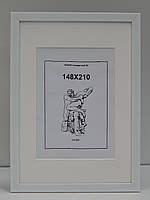 Рамка А4 (210х297)16 мм.Белый полуматовый.С паспарту окно А5