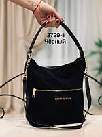 Черная замшевая сумка-мешок 1463 (ЮЛ), фото 1