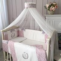 """Комплект в  стандартную детскую кроватку 120/60  """"DeLux"""" пыльная роза, фото 1"""