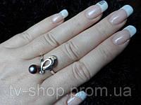 Кольцо р.19 из серебра и золота c жемчугом С003