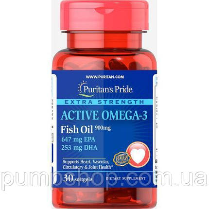 Омега-3 Puritan's Pride Active Omega 3 Extra Strength 900 mg 30 капс., фото 2