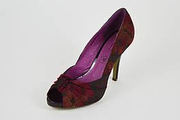 Бордовые туфли с открытым носком Квин 149-044