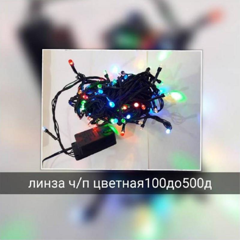 "Гирлянда линза ""Сетка"" 120 LED 1.5м x 1.5м разноцветная на черном проводе 5mm"