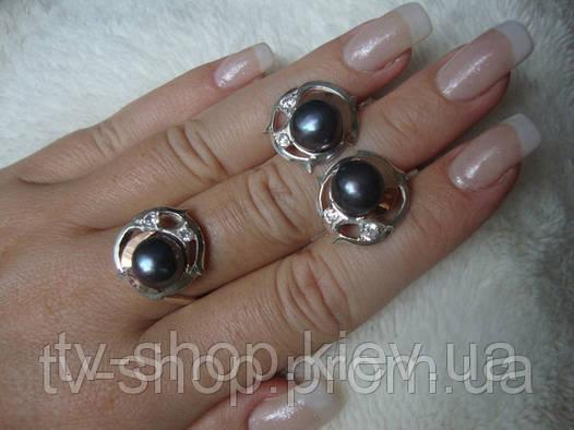 Гарнитур из серебра и золота c жемчугом С017(черный)р.17,5
