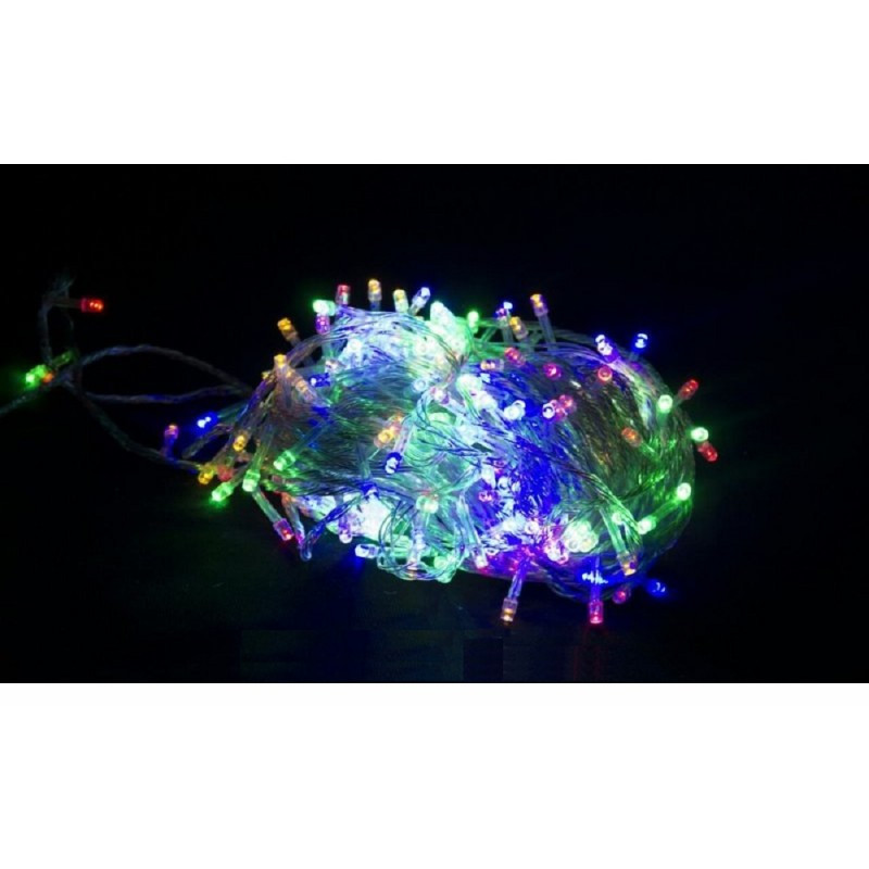 Гирлянда 100 LED 9м разноцветная на прозрачном проводе