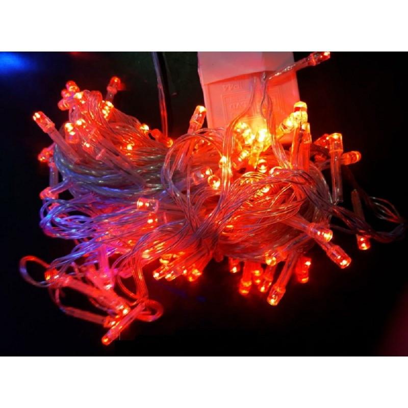 Гирлянда 100 LED 9м красная на прозрачном проводе