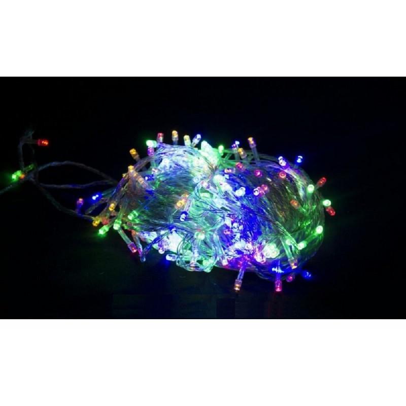 Гирлянда 200 LED 16м разноцветная на прозрачном проводе
