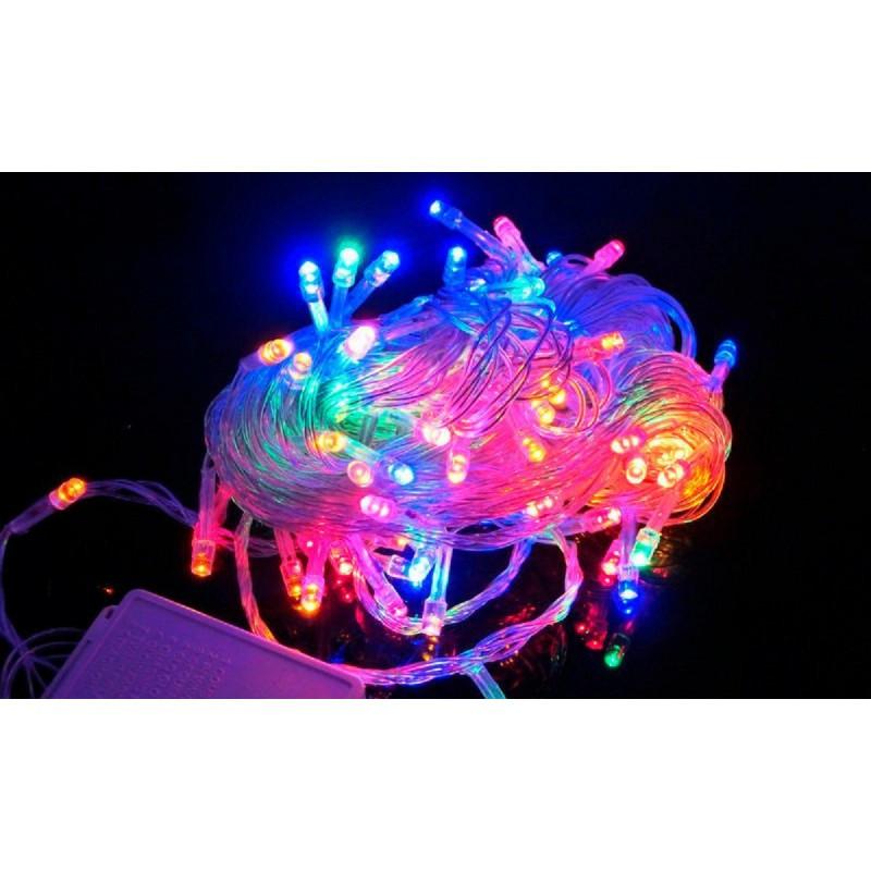 Гирлянда 400 LED 30м разноцветная на прозрачном проводе