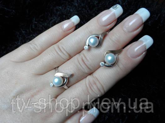 Гарнитур из серебра и золота c жемчугом К019