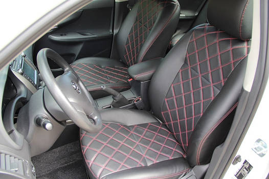 Чехлы на сиденья Рено Сценик 2 (Renault Scenic 2) (модельные, 3D-ромб, отдельный подголовник)