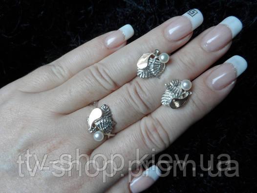 Гарнитур из серебра и золота c жемчугом П008