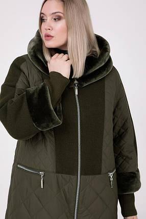 Зимнее Пальто длинное с мутоном  Большие размеры от 54 до 68, фото 2