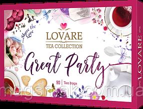 Колекція чаю LOVARE Great Party асорті 18 видів чаю по 5 конвертів