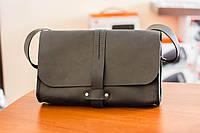 Женская сумка клатч из натуральной кожи ручной работы Revier черная