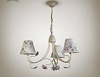 Люстра прованс с цветами для спальни 3-х ламповая 9503