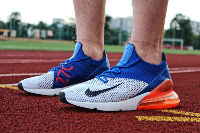 "Кроссовки мужские Nike Air Max 270 Flyknit ""Reacer-Blue/Total-Crimson"" / AO1023 101 (Реплика)"