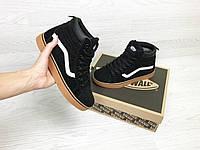 Подростковые зимние кроссовки Vans 6784 черные с белым, фото 1