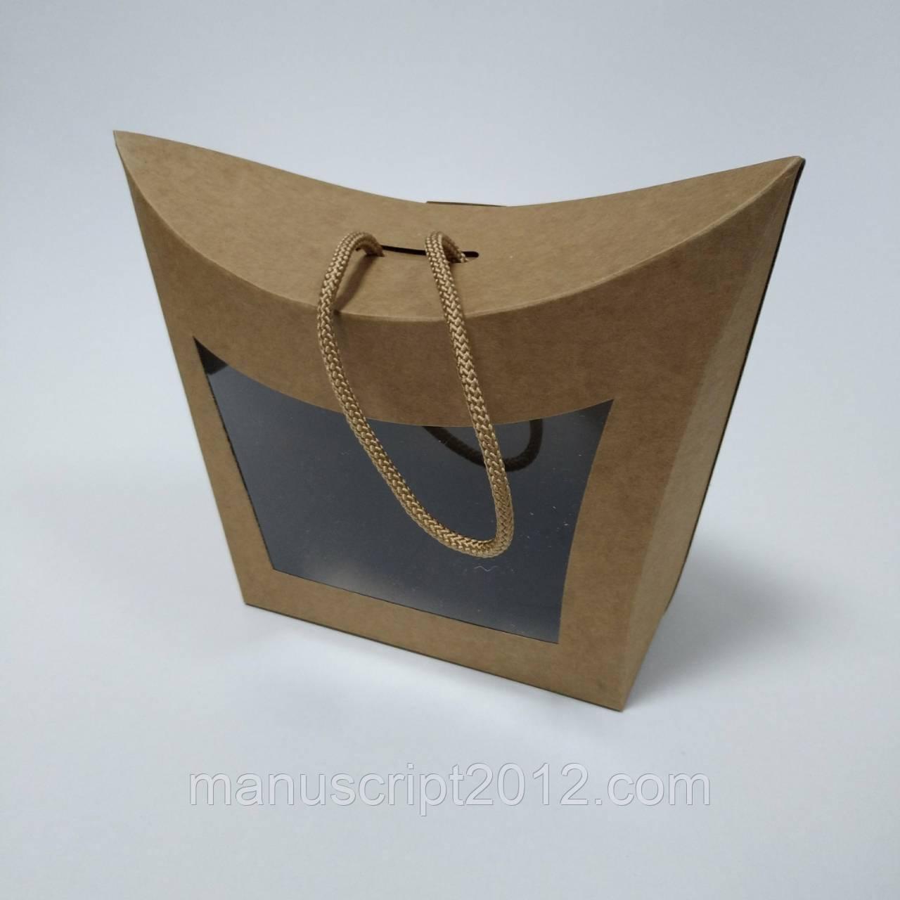 Коробка подарочная с окном и ручкой (крафт) 155х80х140 мм.