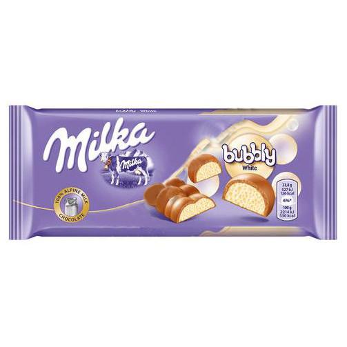 Молочный пористый шоколад Milka Bubble white 95гр. Австрия