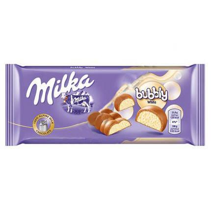 Молочный пористый шоколад Milka Bubble white 95гр. Австрия, фото 2