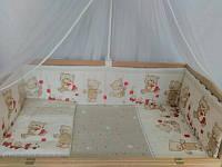 Набор постельного белья в детскую кроватку из 6 предметов Мишка с игрушкой бежевый