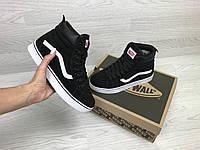 Подростковые зимние кроссовки Vans 6787 черно белые, фото 1