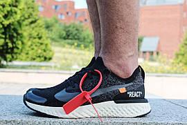"Кроссовки мужские Off White x Nike Epic React Flyknit ""Black/White"" / AQ0067-010 (Реплика)"