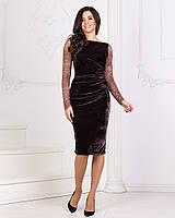 Женское платье из бархата с гипюром, размер 42-48