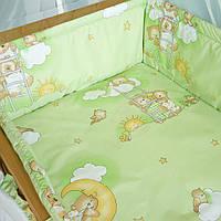 Набор постельного белья в детскую кроватку из 4 предметов Мишки на лесенке Зеленый