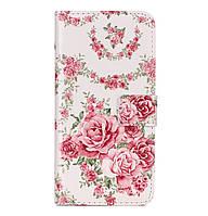 Чехол-книжка Edin c TPU креплением для Xiaomi Redmi Note 4X / Note 4 (SD) (Розы) Beige