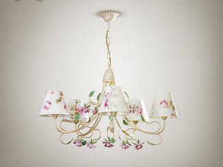 Люстра прованс с цветами для зала, 5-ти ламповая  9505