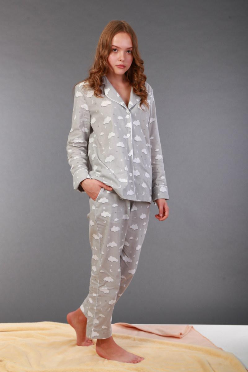 Піжама жіноча, сіра в білі хмаринки. Домашній одяг. Women's Pajamas. Пижама женская. Домашняя одежда.
