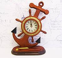 Штурвал морской-часы из дерева, фото 1