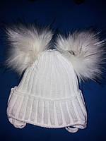 Детская зимняя вязаная шапка на девочку 2-3 года, фото 1