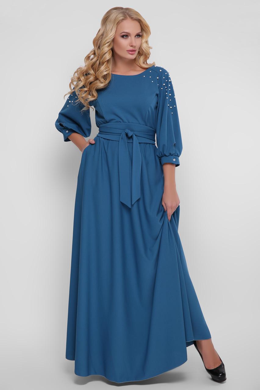 Красиве довге плаття в підлогу Вів'єн бірюзове