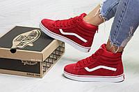 Женские зимние кроссовки, кеды в стиле Vans, на меху, артикул  6785 красные 183c47e063c