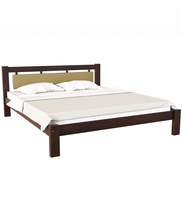 Ліжко півтораспальне в спальню, дитячу з натурального дерева з м'якою спинкою Л-229 Скіф