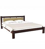 Ліжко півтораспальне в спальню, дитячу з натурального дерева з м'якою спинкою Л-229 Скіф, фото 1