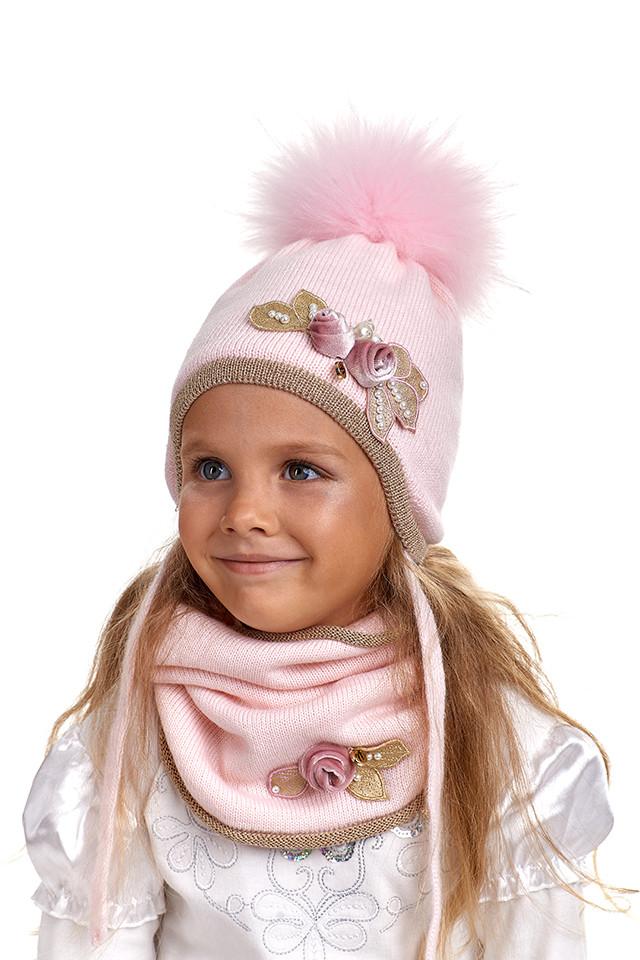 Комплект для девочки шапка ушанка и снуд Nikola