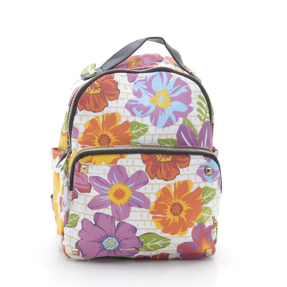 """Городской рюкзак """"Белые цветы» CL-(2003)"""