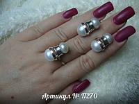 Гарнитур из серебра и золота c жемчугом П270