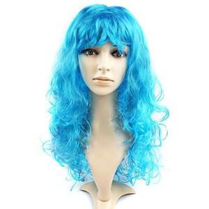 Парик карнавальный волнистый  с челкой L 55 см голубой