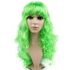 Парик карнавальный волнистый  с челкой L 55 см зеленый