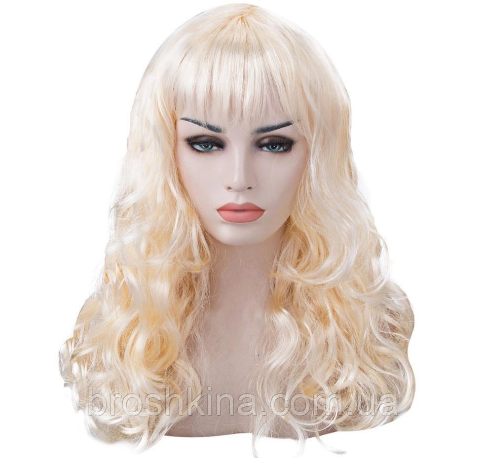 Парик карнавальный волнистый  с челкой L 55 см блонд